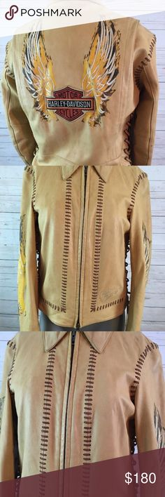 "Harley Davidson Natural Lambskin Leather Jacket * size: Woman's extra small  * style: Leather motorcycle jacket  *color: Light tan  *material: Genuine lambskin leather  *sleeve length: Long  * embellishment: embroidered Harley Davidson logo and braided stitching.  * measurements laid flat:  -chest/bust: 17 1/2"" from under arm to under arm.  -sleeve: 22""  -length: 22""  * condition: In preowned but gently worn condition.  * condition detail: Preowned with some minor wear, has some slight…"