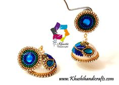 Buy Silk Jhumkas in Peacock blue with a Peacock Stud Online in India – Khushi Handicrafts Silk Thread Jhumkas, Silk Thread Earrings, Thread Jewellery, Peacock Blue, Bead Caps, Diy Earrings, Handicraft, Ornament, Handmade Jewelry