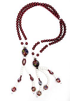 Small Red & White Acrylic with Glass  Buddhist Prayer Beads