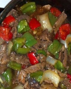 Crock pot Pepper Steak: You'll Need: 16 oz of beef stew meat. 2 of each bell peppers. Of worcestershire sauce. 1 tsp of minced garlic. 1 can of beef broth. 1 can of stewed tomatoes. 1 all-purpose flour. Slow Cooker Recipes, Crockpot Recipes, Cooking Recipes, Easy Recipes, Delicious Recipes, Skinny Recipes, Dinner Recipes, Casserole Recipes, Cooking Games