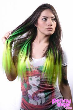 Green / Lime Green Ombré dip dye clip-in hair extension