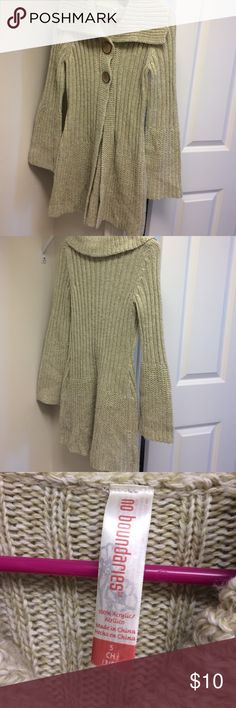 """NWOT No boundaries cardigan Reposh too small. Oatmeal no boundaries cardigan. 33"""" long. Shawl collar with two wooden buttons that are actually snaps inside. 100% acrylic. Bell sleeves. Very cute No Boundaries Sweaters Cardigans"""