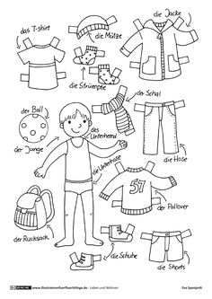 Kinder lernen im Vorschulalter - Primary school ideas - Bildung Paper Doll Template, Paper Dolls Printable, Plotter Silhouette Cameo, Kindergarten Portfolio, German Language Learning, Pinterest Crafts, Operation Christmas Child, Dress Up Dolls, Doll Quilt