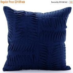 ON SALE Navy Throw Pillows for Bed 16x16 Pillow by TheHomeCentric