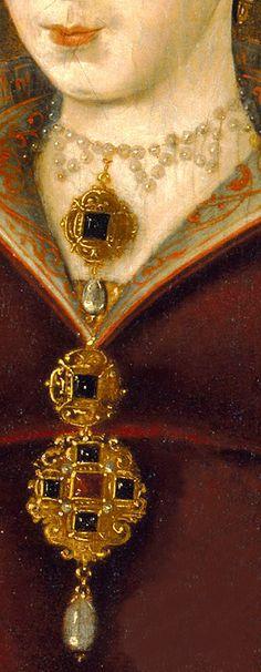 ~J Unknown artist, Lady Jane Dudley (Grey), detail Renaissance Jewelry, Medieval Jewelry, Renaissance Fashion, Ancient Jewelry, Antique Jewelry, Renaissance Portraits, Renaissance Paintings, Lady Jane Grey, Tudor