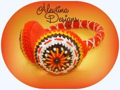 Embroidered crochet red earmuffs ear warmers head warmer folklore Russian Doll matryoshka russian style