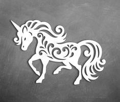 SVG Unicorn / Horse Paper Cut / Kids / Girls Room decor laser Cut Vector files DXF, PNG Cricut / Silhouette Cameo