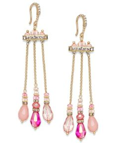 #c.A.K.e by Ali Khan Gold-Tone Pink Bead Triple Chain Drop Earrings