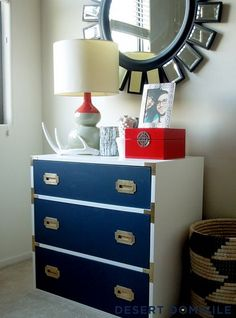 Vintage Campaign Dresser Makeover. For the baby room .......like colors