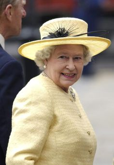 Queen Elizabeth II, In A Yellow Suit And Hat Trimmed With A Black Feather, For The Special Service At Westminster Abbey To Mark The Anniversary Of Her Coronation. Get premium, high resolution news photos at Getty Images Hm The Queen, Her Majesty The Queen, Save The Queen, Queen And Prince Phillip, Prince Charles And Diana, Prince Philip, Yellow Suit, Yellow Hats, Fascinator