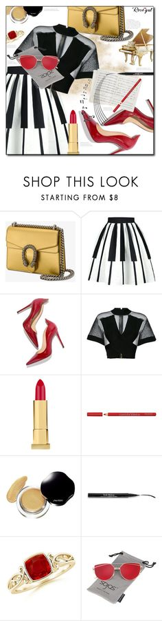 """""""Music Note Dresses & Top"""" by astromeria ❤ liked on Polyvore featuring Gucci, M. Gemi, Balmain, Kevyn Aucoin, Bourjois, David Jones, Trish McEvoy, music, woman and note"""