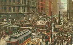 Dearborn Street and Randolph Streets, #Chicago, #Illinois.  Postcard dated 1913.