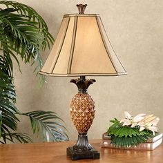 Haina Pineapple Table Lamp Amber Each with CFL Bulb