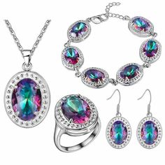 Free delivery of 2016 new fashion jewelry crystal jewelry lady suit 925 Silver Oval color crystal jewelry set wholesale
