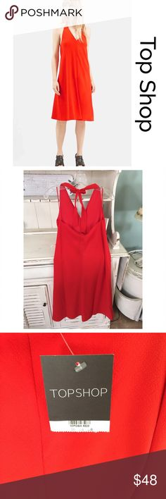 Halter v- neck midi dress Lady in red midi dress by Top Shop is the perfect date night dress, great quality, fully lined Topshop Dresses Midi