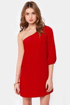 Lulu's Cute One Shoulder Dress - Red Dress - Shift Dress - $38.00