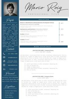 Eye-catching Professional Resume + Cover letter Template Editable for MS Word - Curriculum Vitae - English CV with Fonts included - Resume Cover Letter Template, Cv Template, Letter Templates, Resume Templates, Discount Makeup, Discount Beauty, Makeup Primer, Birthday Games, Professional Resume