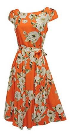 42b4ee12efe2 New Orange Cream Floral WWII 1930's 1940's Vtg style Land Girl Swing Tea  Dress: Viva-la-Rosa: Amazon.co.uk: Clothing