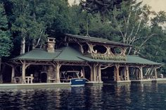 Boathouse designed in the Adirondack style at Camp Topridge, summer home of Marjorie Merriweather Post.
