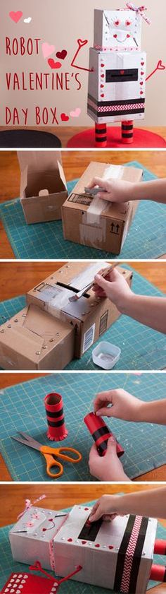 We just LOVE this Valentine's Day robot box for cards. So easy to make and so adorable! The kids will have so much fun making these! http://www.ehow.com/how_4896613_make-robot-valentines-day-box.html?utm_source=pinterest.com&utm_medium=referral&utm_content=inline&utm_campaign=fanpage