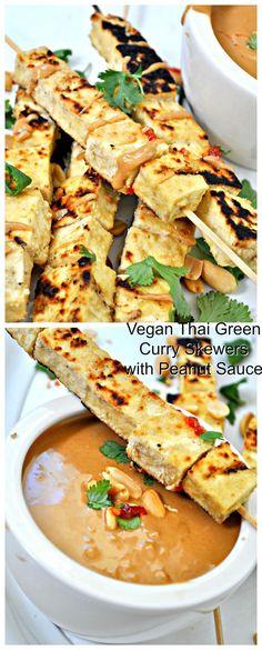 Vegan Thai Green Curry Tofu Skewers with Peanut Sauce