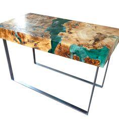 Resin and wood coffee table, welded steel legs.