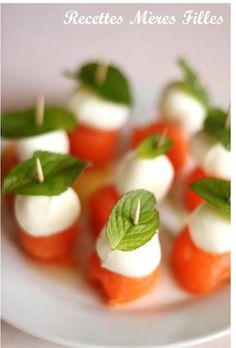 Brochettes Melon Mozzarella Menthe