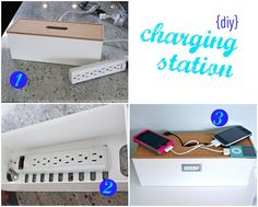 charging station by hi sugarplum!, via Flickr -- from IKEA - KVISSLE Cable management box, cork, white $9.99 Article Number: 301.980.28