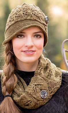 Knitting Pattern for Virginia City Cloche and Cowl - This matching hat and neckwarmer feature a twin leaf lace pattern. Designed by Rosemary (Romi) Hill.