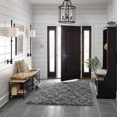 Modern Farmhouse Entryway: The entryway is the first room guests see in your home. Make a memorable impression by designing your space with seating that doubles as storage, light fixtures that command attention & beautiful wall art to welcome guests. House Design, House, Farmhouse Entryway, Home, Home Remodeling, Bedroom Design, House Plans, New Homes, House Interior