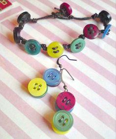cute bracelet earrings  multicolorbutton jewelry by colortreasures, $10.90
