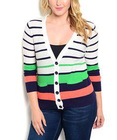 Navy & Green Stripe Cardigan - Plus #zulily #zulilyfinds