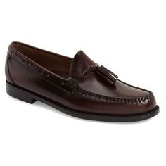 Men's G.h. Bass & Co. 'Lexington - Weejuns' Tassel Loafer ($110) ❤ liked on Polyvore featuring men's fashion, men's shoes, men's loafers, burgundy leather, mens tassel loafer shoes, mens leather shoes, mens tassle loafers, mens tassel shoes and mens shoes