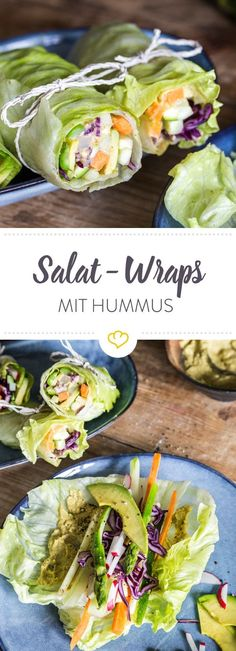 Salad wraps with vegetable filling and hummus - Salat-Wraps mit Gemüsefüllung und Hummus Wraps must not be missing with you? Carbs every now and then? Simply replace the wheat flatbread with a lettuce leaf and fill it with vegetables. Wrap Recipes, Veggie Recipes, Salad Recipes, Vegetarian Recipes, Cooking Recipes, Healthy Recipes, Vegan Recipes Vegetables, Sea Vegetables, Cooking Cake