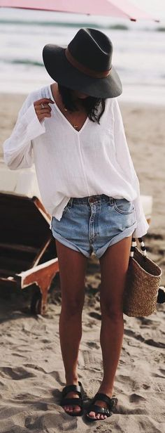 #summer #outfit / Blanket V-Neck Long Sleeves T shirt + Denim Shorts