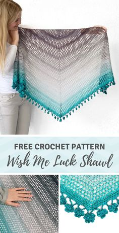 Crochet shamrock shawl: free crochet triangle shawl pattern - - Looking for a crochet shamrock shawl? This shawl has a border made out of little crochet shamrocks. Perfect for St. Patrick's Day or as a special gift for friends! Débardeurs Au Crochet, One Skein Crochet, Crochet Shawl Free, Crochet Shawls And Wraps, Crochet Scarves, Crochet Clothes, Crochet Cardigan, Crochet Triangle Scarf, Crochet Vests