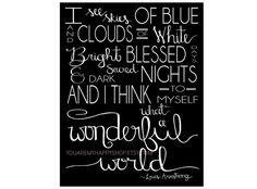 "DOWNLOADABLE PRINT What a Wonderful World 24""x36"" **youaremyhappyshop**"