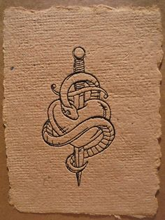 greeting card snake/dagger/heart tattoo style by rubyshinesdesigns