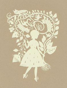 Rain Girl :) (papercut) by Elsita (Elsa Mora), via Flickr