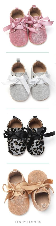 FREE US SHIPPING!  Comfy, classy, and stylish. Pair these MOCS with your fav outfit for a stunning little combo. She's so fancy, you already know ;) Soft bottom sole, Shoe lace design detail. Glitter, formal mocs for your baby girl, Lenny Lemons #baby #babygirl #babies #shoes