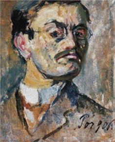"""Bertalan Por, (1880-1964) Self portrait. Along with others in """"The Eight"""", Por was a Marxist/Leninist sympathiser of the Bolshevik Revolution in Russia in 1917 and consequently of the short- lived, Lenin backed Hungarian Soviet Republic led by Bela Kun of 1919. After the failure of The Hungarian Soviet Republic in 1919, Por emigrated to Czechoslovakia and travelled to France, Italy and the Soviet Union on artistic patronage. He returned to Hungary in 1948 when it became a satellite of the…"""