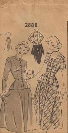 1949 Two Piece Skirt and Top Mail Order Butterick by Redcurlzs, $12.00