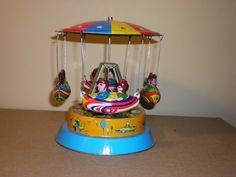 Tin Airship Carousel Vintage Wind Up Toy-$9