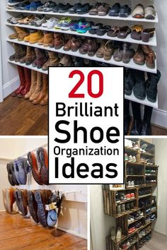 shoe organization small space Need some inspiration to organize your shoes like a boss Check out this extensive list of ideas, hacks, and DIYs that make shoe organization a breeze. Perfect for small spaces, closets, and entryways. Best Shoe Rack, Diy Shoe Rack, Shoe Racks, Diy Shoe Organizer, Boot Storage, Closet Shoe Storage, Shoe Storage Hacks, Shoe Storage Solutions, Storage Shelving