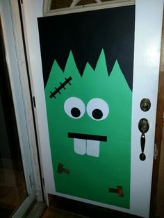Frankenstein door ) it was so easy to make. & Frankenstein door decoration for Halloween | Classroom Crafts/Ideas ...