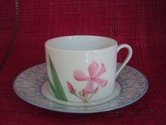 tea cup and saucer, laurel hand painted flower, Limoges porcelain