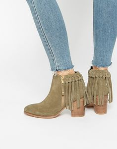 ASOS RHYMES Suede Western Fringe Ankle Boots