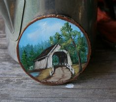 Antique Miniature Oil Painting on Wood Slice Dated 1918 Covered Bridge From Nowvintage On Etsy