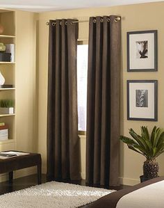 Brown Curtains Warm Yellowish Beige Walls White Area Rug