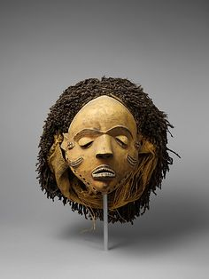 Africa | Female Mask (Gambanda) from the Pende people of DR Congo | Wood and fibre | ca. 19th - 20th century
